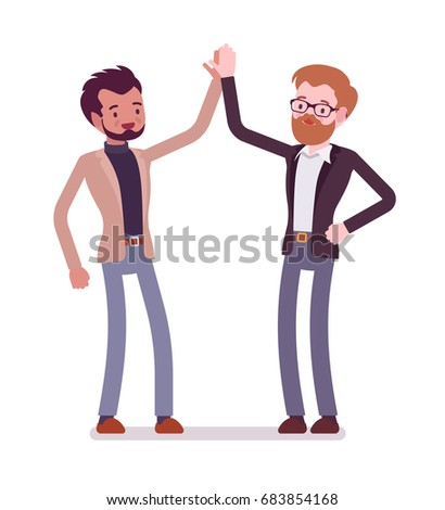 Businessmen highfive gesture friends building connection stock businessmen highfive gesture friends building a connection showing enthusiasm formal manners and greeting m4hsunfo