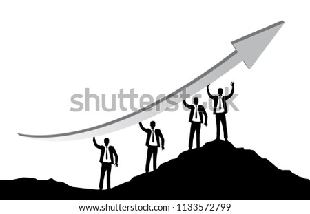 Businessmen holding an arrow in their hands on a mountain peak. business concept. business concept. illustration design graphic