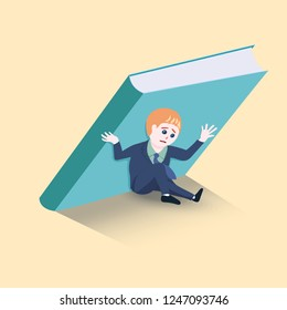 Businessmen are holding up a big  not to fall over him. concept for 