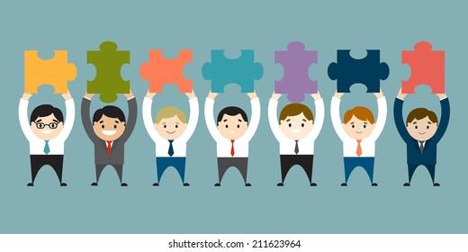 Businessmen holding up empty puzzles. Vector illustration. Flat design