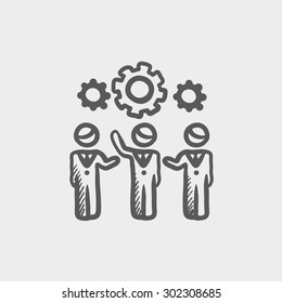 Businessmen holding a gear of a machine sketch icon for web and mobile. Hand drawn vector dark grey icon on light grey background.