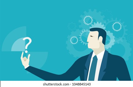 Businessmen holding and looking at question mark. Innovation and making decision concept illustration