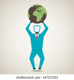 businessmen lift world globe stock vector