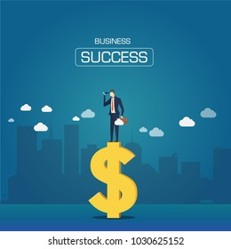 Businessmen look at goals on the money symbols.