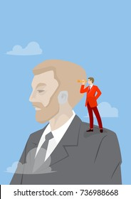Businessmen looking with the telescope for business opportunities on giant shoulder. Business concept illustration.