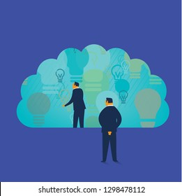 Businessmen looking through a brain idea window. Business creativity concept. - Vector