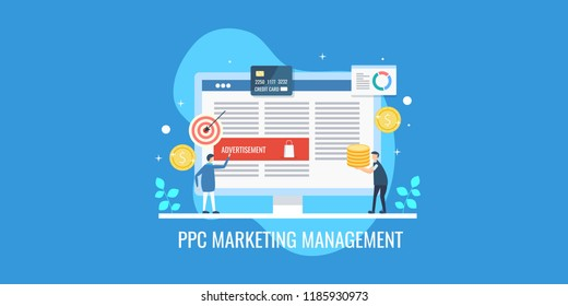 Businessmen managing ppc campaign, pay per click strategy, PPC marketing conceptual vector banner on blue background