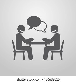 Businessmen negotiating at the table. Business lunch. A business meeting. Vector illustration. Eps 10.
