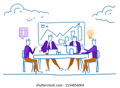 businessmen office table conference financial graph arrow up analytics consultant concept men brainstorming process silhouette sketch doodle horizontal vector illustration