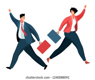 Businessmen or office workers running and waving their hands in greeting. Cartoon male and female characters with briefcases, wearing business clothes. Vector illustration