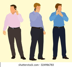 Businessmen on Mobile Phone in Business Casual Dress