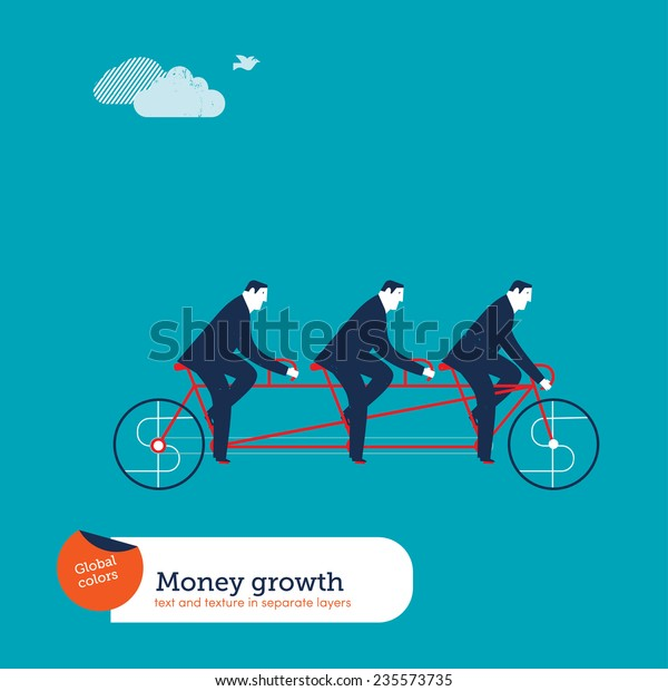 Businessmen on tandem bike with money sign. Vector illustration Eps10 file. Global colors. Text and Texture in separate layers.