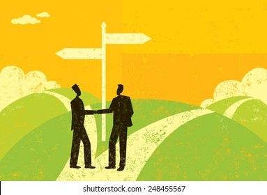 Businessmen Parting Ways Two business partners, reaching a fork in the road, shake hands and decide to part ways. The businessmen and sign are on a separate labeled layer from the background.