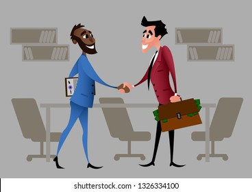 Businessmen partnership beginning. Cartoon charaсter. Partners firmly shaking hands after signing contract agreement closing deal. Flat style vector illustration isolated on ofice background.