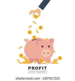 Businessmen pick up coins into a piggy bank.