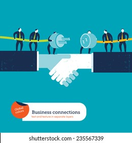 Businessmen with plug and socket on a handshake. Vector illustration Eps10 file. Global colors. Text and Texture in separate layers.