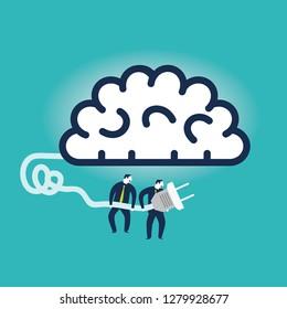 Businessmen plugging a brain. Vector illustration
