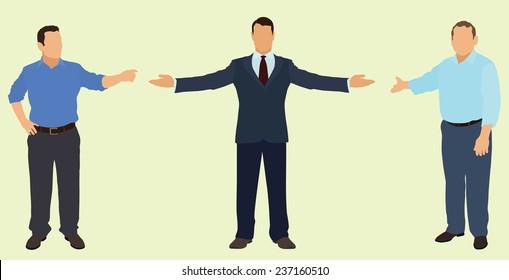 Businessmen Pointing or Motioning Toward Something