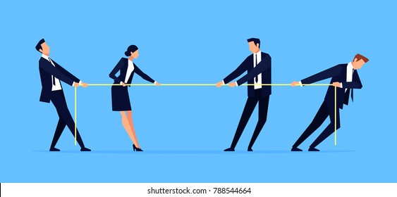 Businessmen are pulling rope. Business people in a flat style. Concept of competition. Banner design template. Vector illustration.