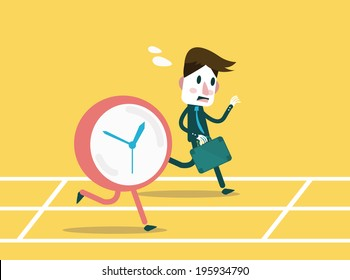 Businessmen racing with clock. Business workforce Concept. flat design element. Vector