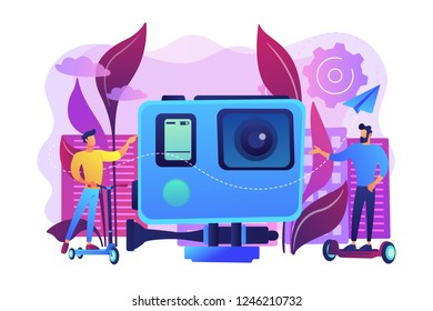 Businessmen riding electric scooter and skateboard in city. Urban electric transport, e-scooter e-skateboard using, modern citylife style concept. Bright vibrant violet vector isolated illustration