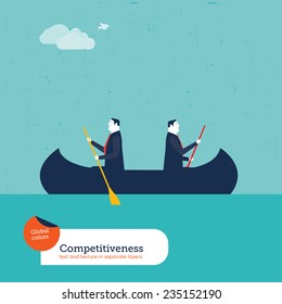 Businessmen rowing in opposite directions. Vector illustration Eps10 file. Global colors. Text and Texture in separate layers.
