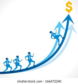 businessmen run on blue arrow background vector