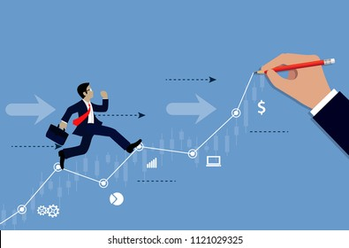Businessmen run on chart graph line to goal to achieve success drawing on blue background. go to target growth. leadership. Modern idea. creativity. business concept. Vector Illustration