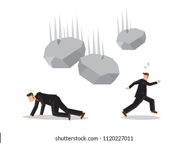 Businessmen running away from falling rocks. Concept of crisis happening in the corporate world. Vector illustration.