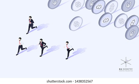 Businessmen running away from money. Wrong promotion development strategy. Conceptual isometric vector illustration.
