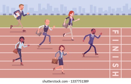 Businessmen running at business competition. Rivalry race between companies or managers, office workers in motivational contest, employees establishing professional superiority. Vector illustration