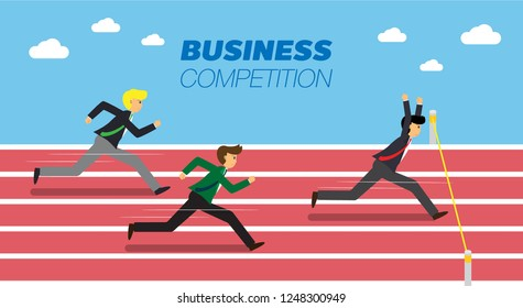 Businessmen running down the track. Business vector.
