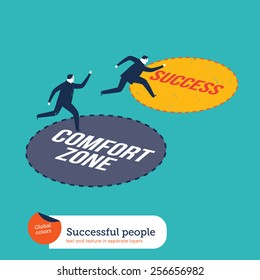 Businessmen running out of the comfort zone to success zone. Vector illustration Eps10 file. Global colors. Text and Texture in separate layers.