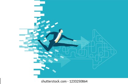 Businessmen running through the brick wall, destroying everything on the way to success. Business concept illustration