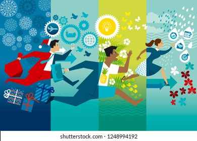Businessmen running whole year flat vector color illustration. Job rush. Workaholics cartoon character. Office worker hurry up four seasons. Non stop business routine in summer, winter, autumn, spring