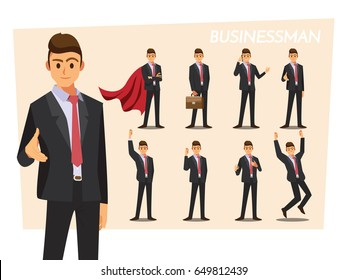 Businessmen set ,Vector illustration cartoon character.