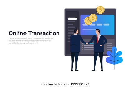 Businessmen shake hands with computer screen application online, Internet business, ecommerce concept. Vector