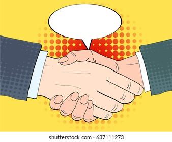 Businessmen shake hands and empty speech bulb vector illustration in retro pop art style. Partnership handshake concept poster in comic design