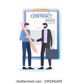 Businessmen Shake Hands Man with Pen Sign Contract Vector Illustration. Business Deal Document Agreement Employment Paper Real Estate Purchase Sale Mortgage Professional Lawer Work
