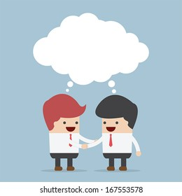 Businessmen shaking hands and blank speech, VECTOR, EPS10