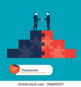 Businessmen shaking hands on a puzzle pyramid. Vector illustration Eps10 file. Global colors. Text and Texture in separate layers.