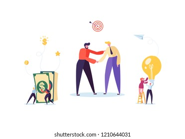 Businessmen Shaking Hands. Partnership Deal Handshake, Meeting Agreement Concept. Characters on Successful Negotiations. Vector illustration