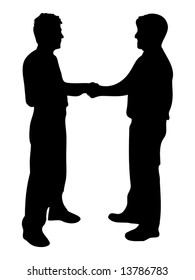 businessmen shaking hands silhouette isolated over a white background