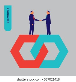 Businessmen shaking hands teamwork. Vector illustration Eps10 file. Global colors. Text and Texture in separate layers.