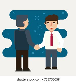 Businessmen shaking hands. Vector, illustration flat style picture