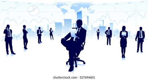 Businessmen silhouettes in city