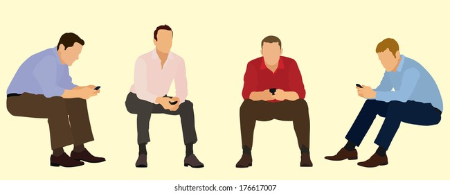 Businessmen Sitting and Texting on Cell Phone