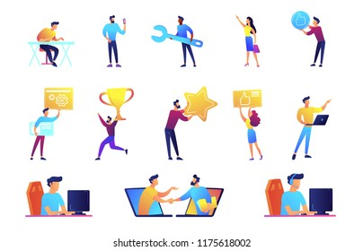 Businessmen and IT specialists set. Freelance web designer, developer, programmer, online communication, achievement, manager with laptop. Vector illustrations set isolated on white background.