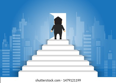 businessmen stand the stair to the door concept step up the ladder to success goal  and progress in the job. of the highest organization. business finance.Flat design vector illustration