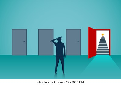 Businessmen standing in front of the four doors are choosing the best way. Decisions to lead to business success and the highest organization. illustration cartoon vector